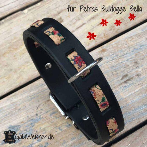 Hundehalsband Leder und Kork mit Blumenmuster 3 cm breit und verstellbar