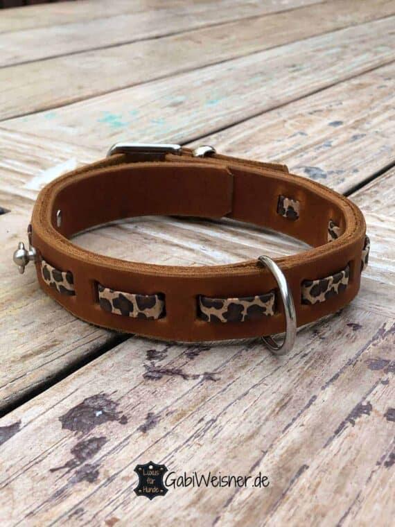 Hundehalsband Leopard Print, Leder 3 cm breit, verstellbar, 3 Farben