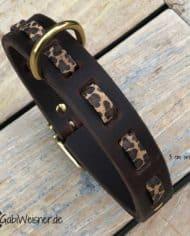 Hundehalsband-Leder-und-Kork-mit-Leoprint-3-cm-breit-braun