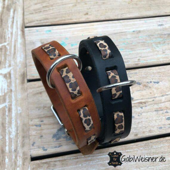 Hundehalsband Leopard Leder 3 cm breit
