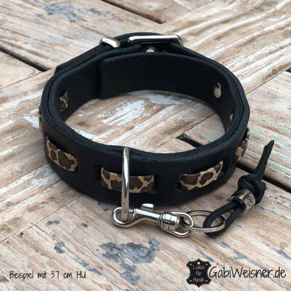 Hundehalsband Leopard Print, Leder 3 cm breit, verstellbar. Schwarz