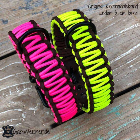 Hundehalsband Neon Pink, Gelb, Orange oder Grün Leder 3 cm breit, verstellbar