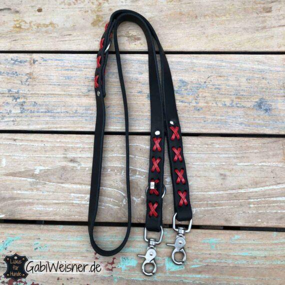 Hundeleine mit Kreuz, Leder und Lack, 2 cm breit, 2-fach verstellbar