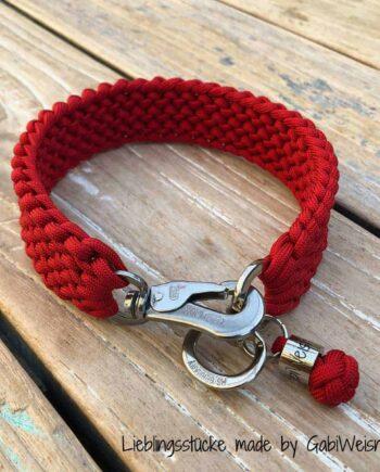 Paracord Hundehalsband, einmal weiter verstellbar, 3 cm breit. Rot, Sprenger Haken