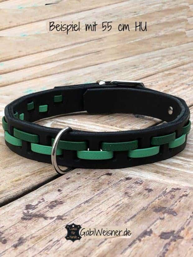 Hundehalsband Leder 3 cm breit und verstellbar. Nappaleder in Grün