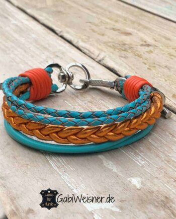 Hundehalsband für kleine Hunde Leder Mix in Tuerkis und Orange