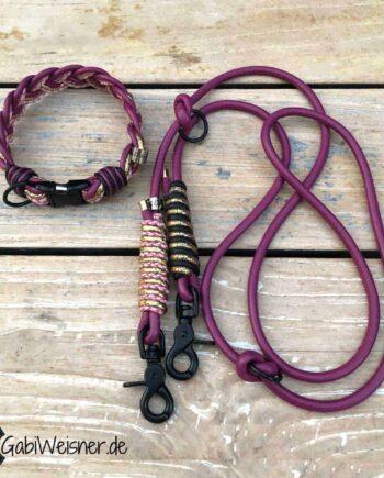 Hundehalsband für kleine Hunde, mit Leine, Leder in BEERE SCHWARZ GOLD