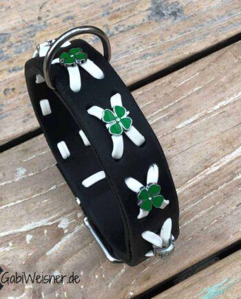 Hundehalsband Kleeblatt auf Leder 3 cm breit verstellbar in 3 oder 5 Ösen