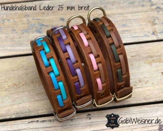 Hundehalsband-Leder-25-mm-breit-Edelstahl-Messing