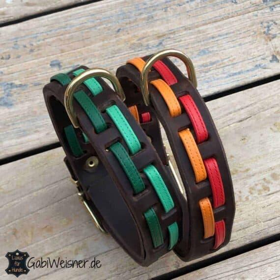 Hundehalsband Leder 25 mm breit, Nappaleder, 6 Farbkombinationen