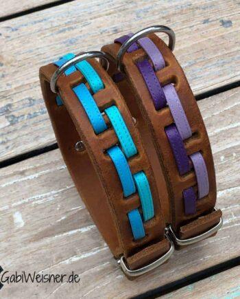 Hundehalsband Leder 3 cm breit und verstellbar. Nappaleder in Lila oder Blau auf Leder in Cognac