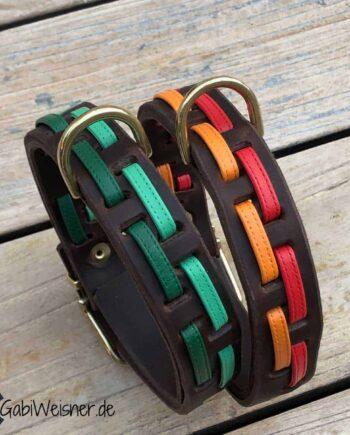 Hundehalsband Leder 3 cm breit und verstellbar. Nappaleder in Grün oder Rot