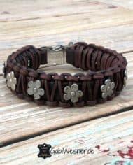 Hundehalsband-mit-Blumen-Leder-25-mm-breit