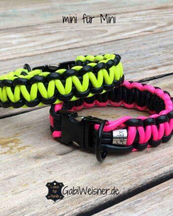 Hundehalsband Neon und Schwarz mit Klickverschluss für mini Hunde