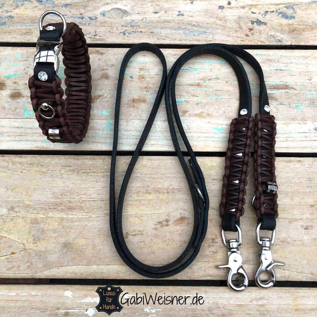 Hundehalsband und Leine für kleine Hunde mit 4 Swarovski Elements