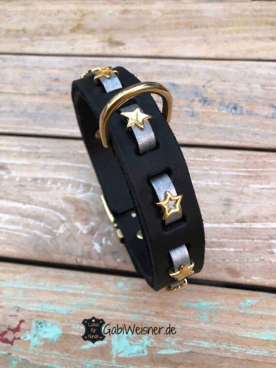 Hundehalsband vergoldete Sterne