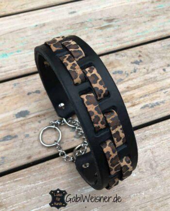 Zugstopp Hundehalsband Leopard Leder 4 cm breit Leopard