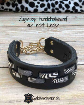 Zugstopp Hundehalsband Leder 4 cm breit im Zebra-Look