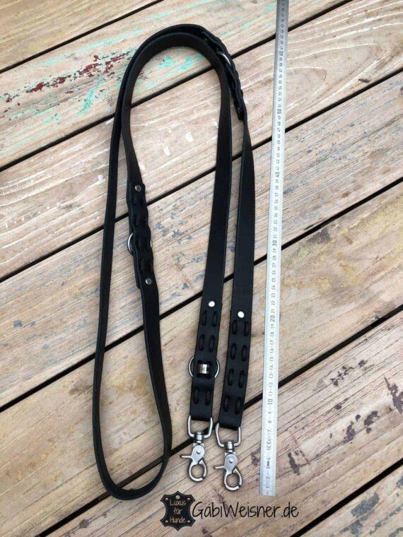 Hundeleine Leder 25 mm EXTRA breit, Edelstahl Karabiner, Steppmuster