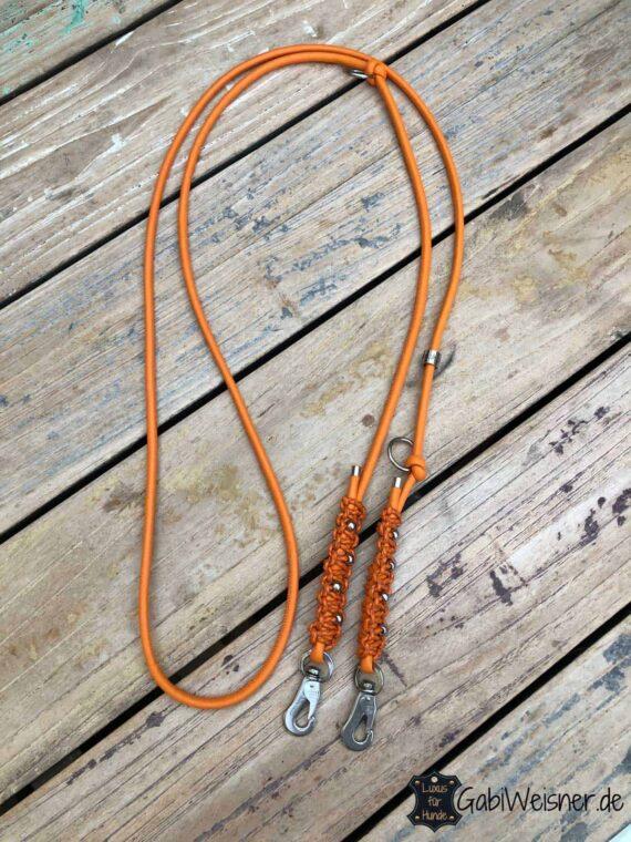 Leine für kleine Hunde, Edelstahl dekoriert auf Leder in Orange