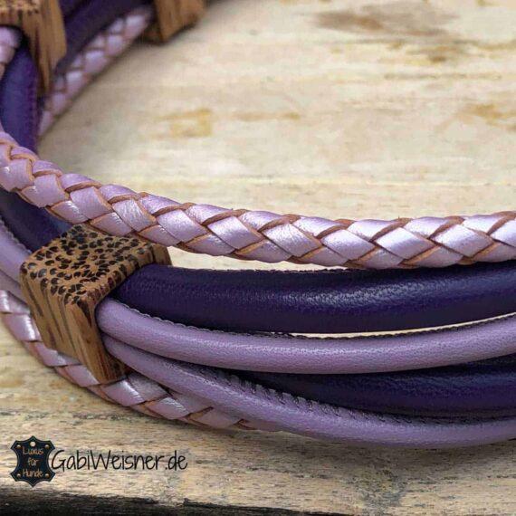 Luxus Hundehalsband für französische Bulldoggen. Leder in Lila und Flieder