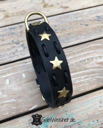 Lederhalsband mit Sternen