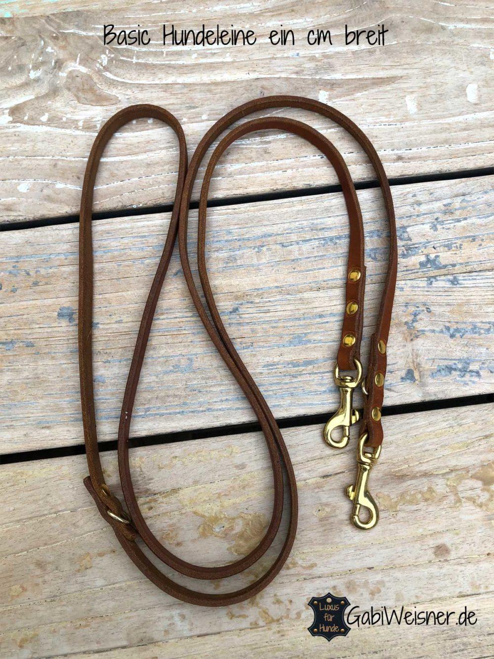 Basic Lederleine 1 cm breit, verstellbar, kleine Messing-Karabiner
