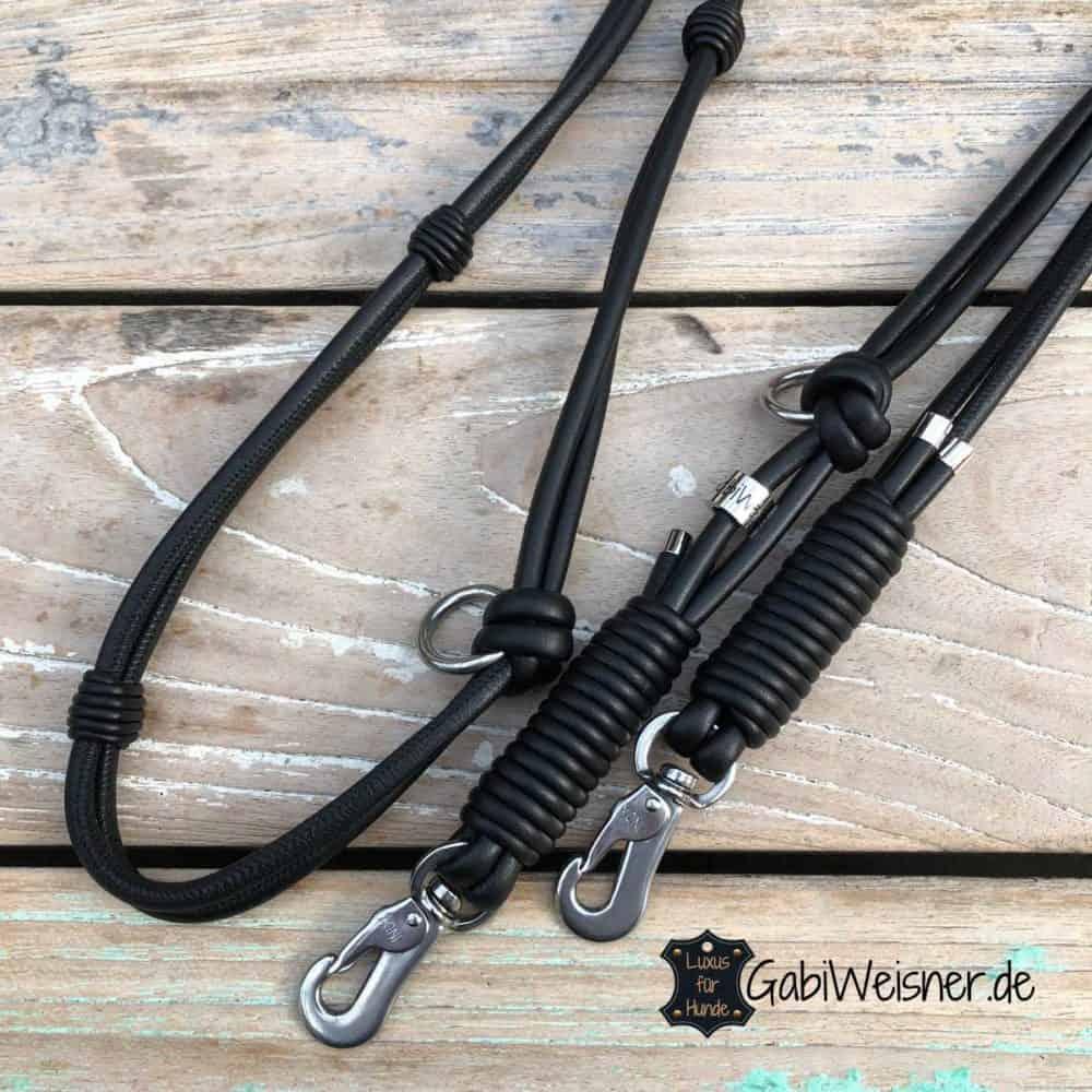 Basic Hundeleine Leder im Doppelstrang, je 6 mm, jede Farbe, mittelgroße Hunde
