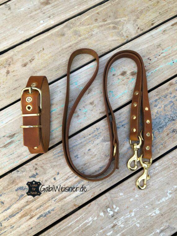 Basic SET Hundehalsband Lederleine verstellbar mit Messing-Karabiner
