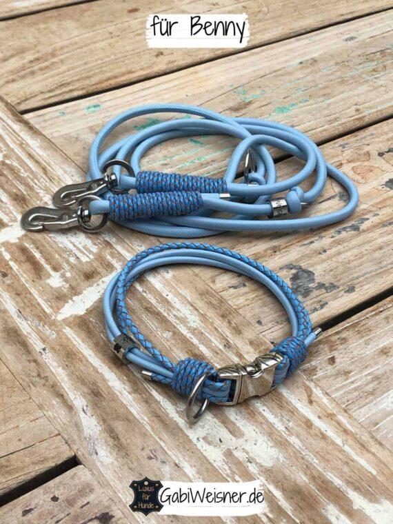 Hundehalsband in Hellblau und Leine für kleine Hunde