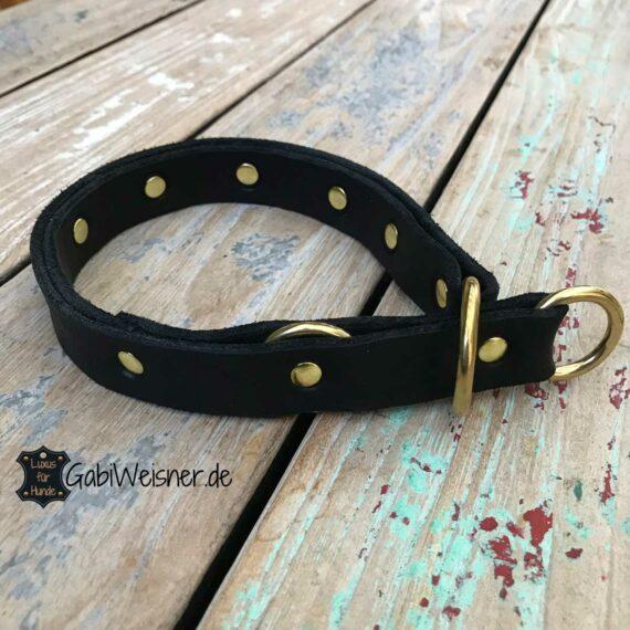 Halsband Zugstopp Leder doppelt gelegt, Messingbeschlag, 35 mm breit