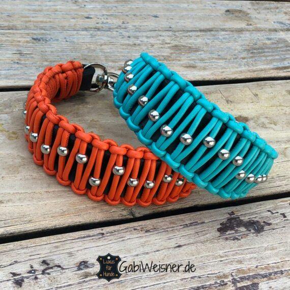 Hundehalsband Leder 5 cm breit auslaufend gearbeitet, Orange oder Tuerkis