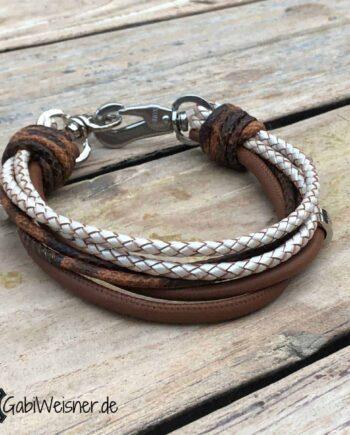 Hundehalsband 6 Reihen Leder mix. Halsband 3 cm breit