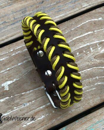 Hundehalsband Leder 2 cm breit Indianer-Look. Beige und Gelb