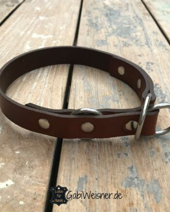 Hundehalsband Leder 2 cm breit mit Zugstopp fuer kleine Hunde