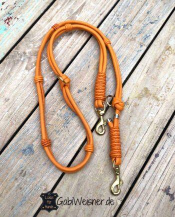 Hundeleine Leder in Orange und im Doppelstrang