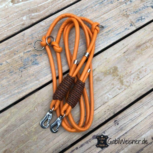 Hundeleine Leder rund 8 mm, verstellbar, Orange Braun