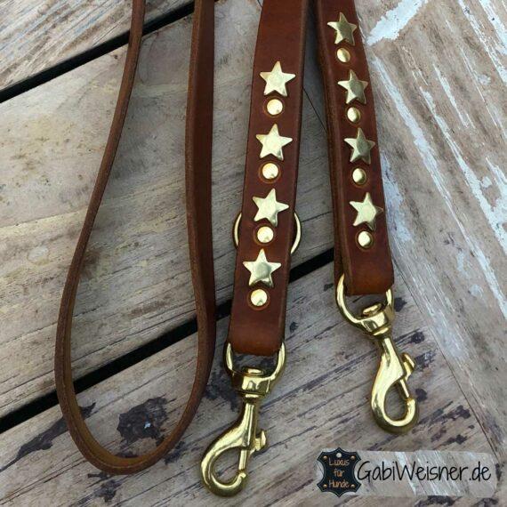 Hundeleine mit Sternen, Leder 25 mm extra breit