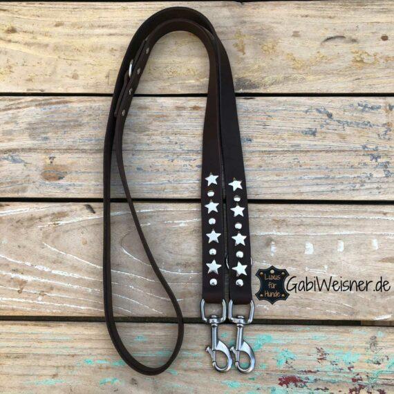 Hundeleine mit Sternen, Leder 25 mm extra breit, 3 Farben