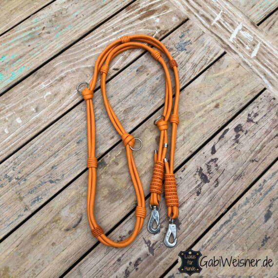 Hundeleine Leder in Orange, Doppelstrang mit je 8 mm für große Hunde