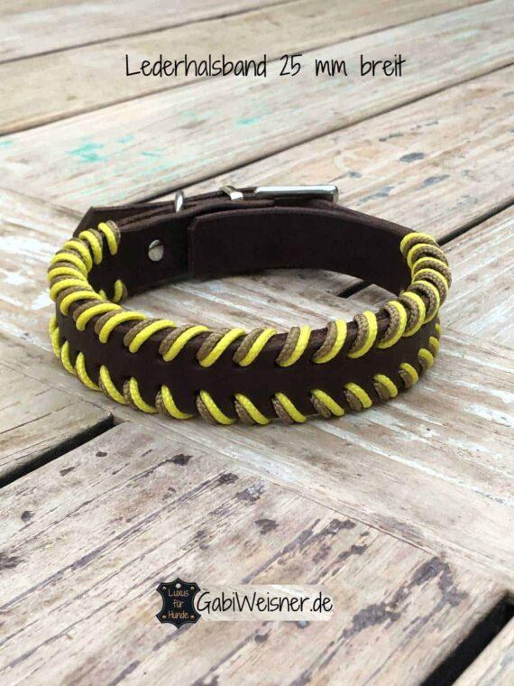 Hundehalsband 25 mm breit Leder doppelt gelegt Farbe nach Wunsch. Gelb auf Braun.