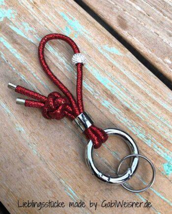 Schlüsselband mit Strass und Glitzer in Rot