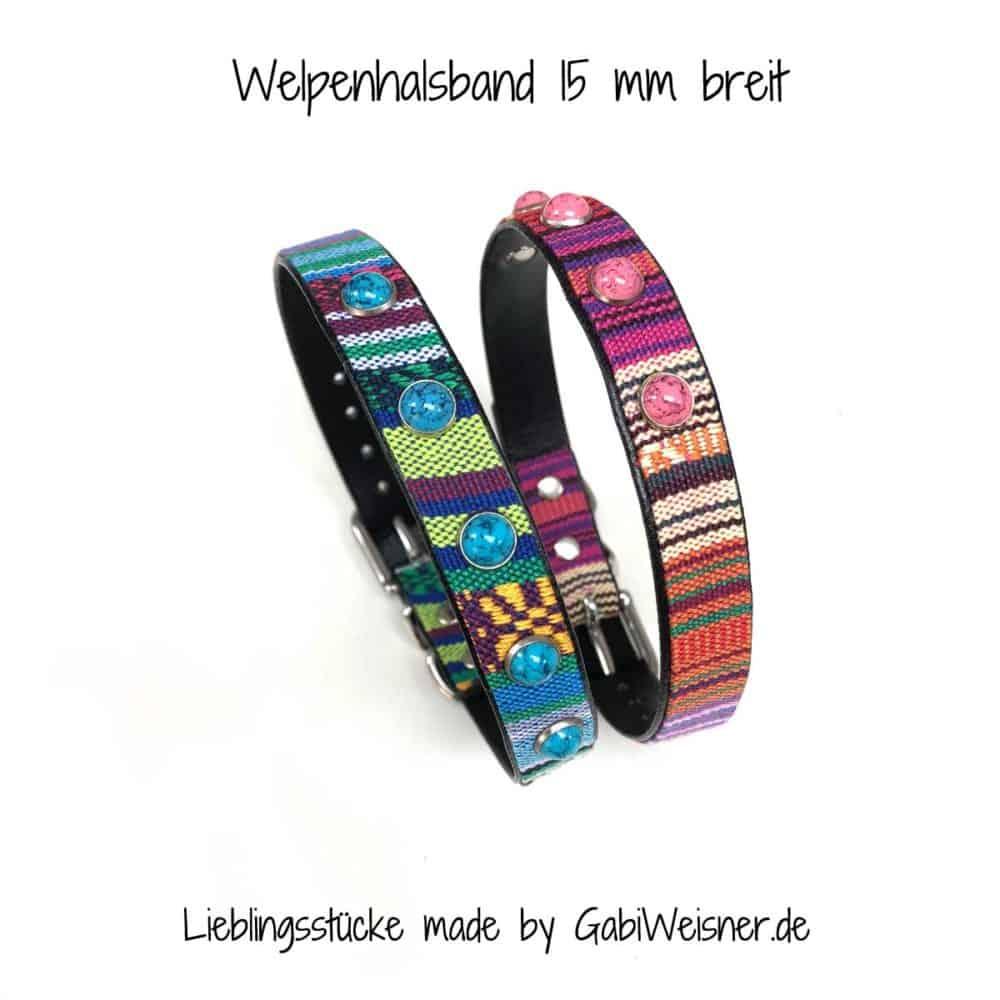 Welpenhalsband zum Mitwachsen für kleine Hunde. Rosa / Hellblau mit DEKO türkiser Stein und Rosa Stein Nieten.