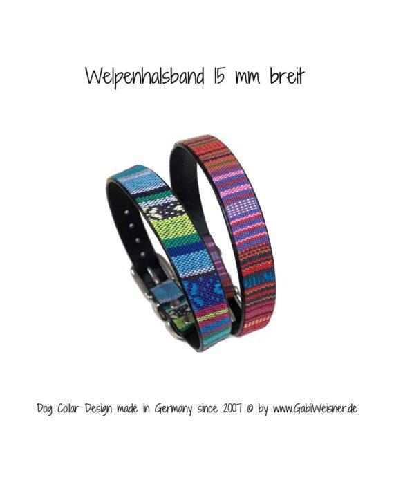 Welpenhalsband zum Mitwachsen für kleine Hunderassen. Rosa Hellblau.