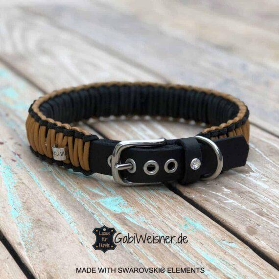 Hundehalsband mit Swarovski Elements, Leder 3 cm breit, Knotenhalsband