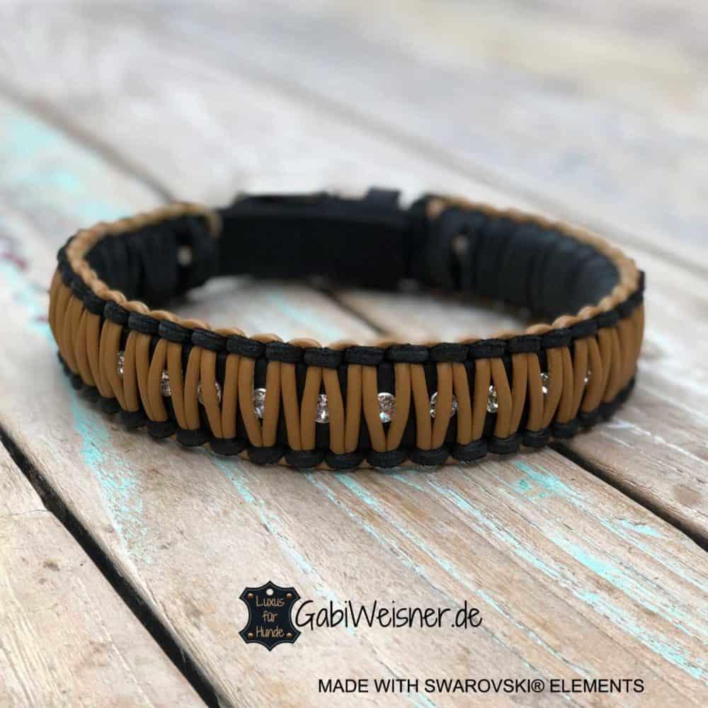 Hundehalsband mit Swarovski Elements, Leder 35 mm breit, Knotenhalsband