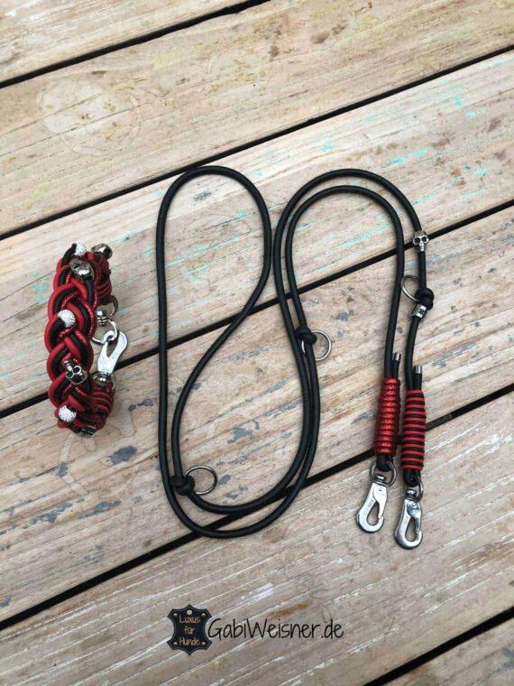 Hundehalsband SET mit Strass und Totenkopf, Leder 3 cm breit geflochten