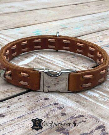 Hundehalsband mit Klickverschluss Leder 25 mm breit, Steppmuster. Cognac, Natur.