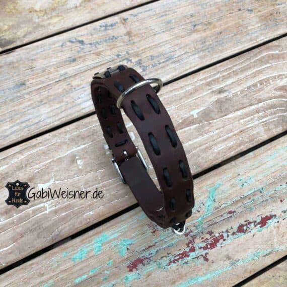 Hundehalsband mit Namen Leder 3 cm breit, verstellbar, 4 Farben