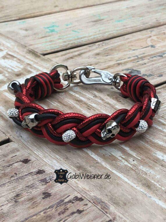 Hundehalsband mit Strass und Totenkopf, Leder 3 cm breit geflochten